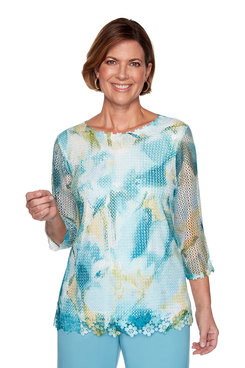 Image: Abstract Mesh Floral Top