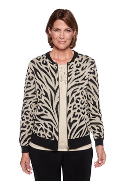 Image: Animal Jacquard Knit Bomber Jacket