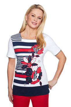 Image: Applique Floral Stripe Top