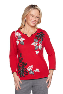 Image: Applique Floral Textured Sweater