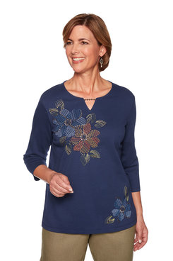 Image: Asymmetric Embroidered Flower Top
