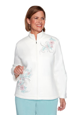 Image: Asymmetric Floral Embroidery Polar Fleece