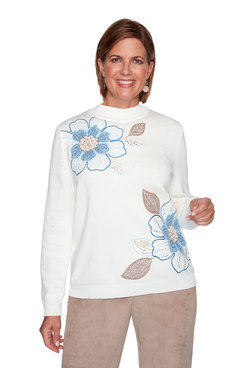 Image: Asymmetric Floral Embroidery Sweater
