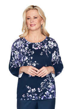Image: Asymmetric Floral Print Sweater