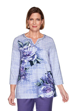 Image: Asymmetric Floral Textured Top