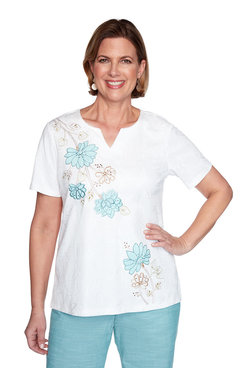 Image: Asymmetric Flower Applique Top