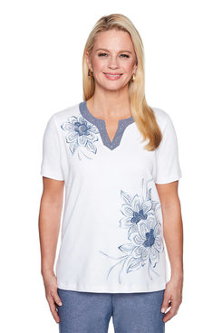 Image: Asymmetric Flower Embroidery Top