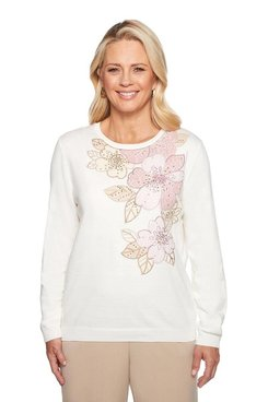 Image: Asymmetrical Floral Applique Sweater