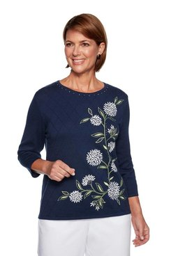 Image: Asymmetrical Floral Embroidery Sweater