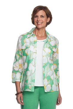 Bahama Bays Abstract Floral Two For One Top