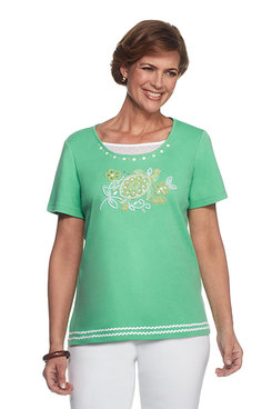 Bahama Bays Petite Center Beaded Turtle Top