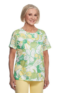 Bahama Bays Plus Floral with Lace Yoke Top