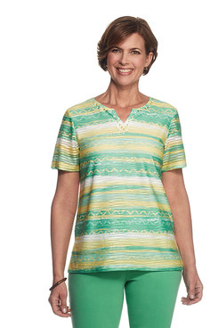 Bahama Bays Plus Texture Stripe Top