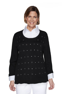 Image: Beaded Diamond Two-For-One Sweater