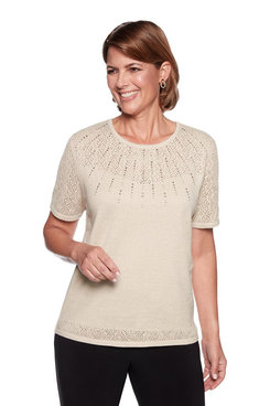 Image: Beaded Pointelle Yoke Sweater