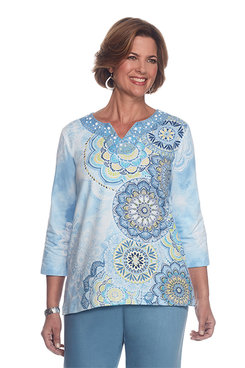 Blue Lagoon Asymmetric Medallion Top