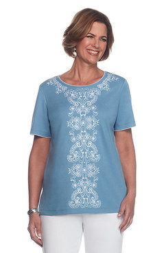 Blue Lagoon Petite Center Embroidery Top