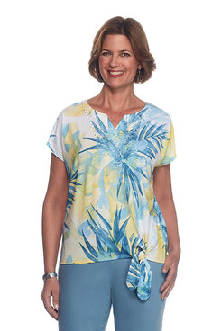 Blue Lagoon Petite Tropical Floral Top