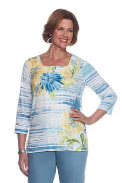 Blue Lagoon Plus Texture Floral Stripe Top