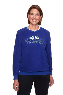 Image: Bluebirds Embroidered Anti-Pill Pullover
