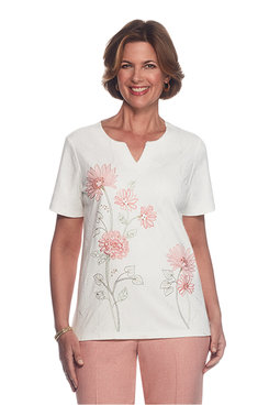 Botanical Gardens Petite Embroidered Asymmetrical Top