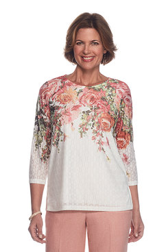 Botanical Gardens Petite Floral Yoke Top