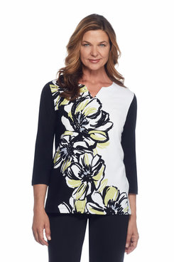 Casual Friday Petite Asymmetric Floral Top