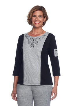 Casual Friday Petite Diamond Yoke Spliced Top