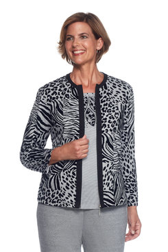 Casual Friday Petite Flocked Animal Jacket