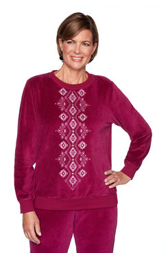 Image: Center Diamond Embroidery Pullover