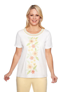 Image: Center Embroidered Flowers Top