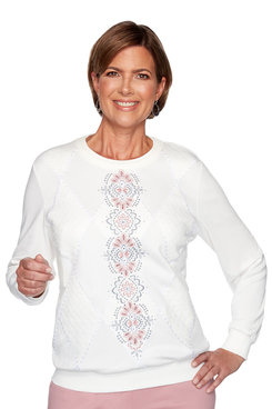 Image: Center Embroidery Diamond Top