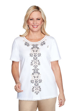 Image: Center Medallion Embroidered Top