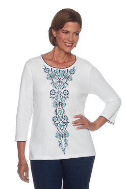 Image: Center Multi Embroidery Top