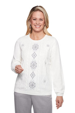 Image: Chenille Center Embroidery Sweater