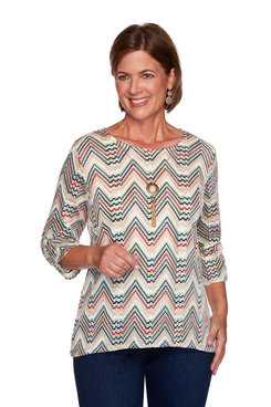 Image: Chevron Textured Top With Necklace