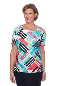 Image: Classics Petite Patchwork Tiered Blouse