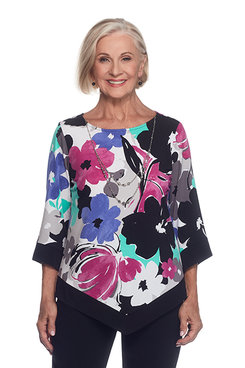 Closet Case Floral Black Trim Top