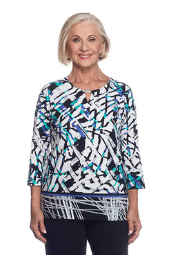Closet Case Petite Abstract Top with Border