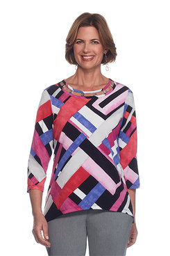 Image: Closet Case Petite Geometric Colorblock Top