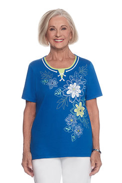 Corisca Petite Floral Embroidery Knit Top