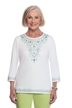 Corisca Plus Embroidered Yoke Top