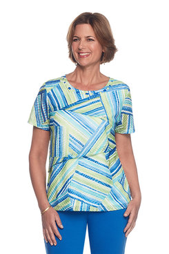 Corisca Stripe Tiered Patch Top