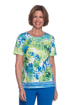 Corisca Tropical Border Knit Top