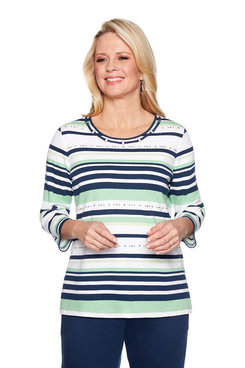 Image: Embellished Stripe Top