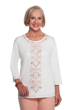 Embroidered Center Scroll Top