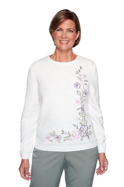 Image: Embroidered Chenille Floral Sweater