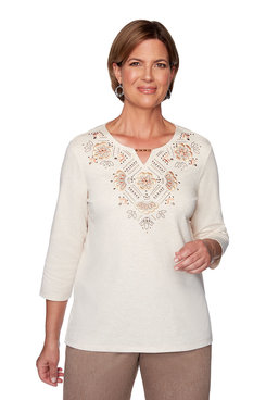 Image: Embroidered Floral Yoke Top