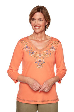 Image: Embroidered Yoke Top