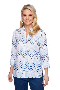 Image: Embroidered Zigzag Eyelet Shirt